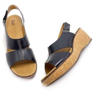 Clarks 12M Black Leather Cork Wedge Sandals